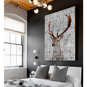 Highlands Stag Canvas Art - winter wildlife art