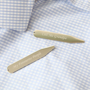 Engraved Collar Stiffeners - men's jewellery