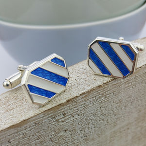 Silver Nautical Stripe Cufflinks - cufflinks