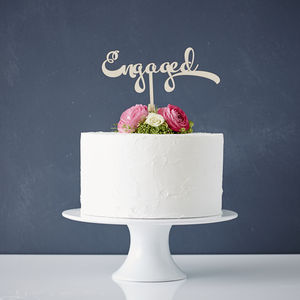 Calligraphy 'Engaged' Wooden Cake Topper - kitchen