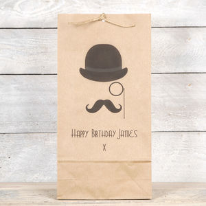 Monocle, Hat And Moustache Fathers Day Gift Bag - gift bags & boxes