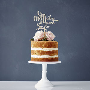 Calligraphy Song Lyrics Wooden Wedding Cake Topper - cake toppers & decorations