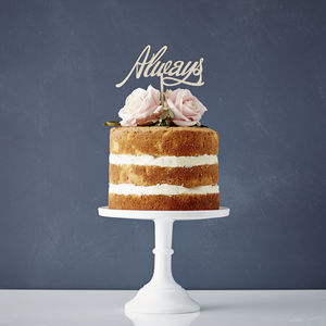 Elegant Always Wooden Wedding Cake Topper