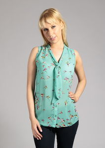 Sleeveless Tie Neck Kingfisher Print Blouse - blouses & shirts