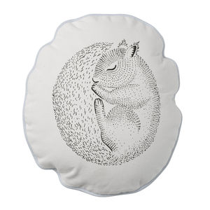 Illustrated Sleeping Squirrel Cushion - bedroom