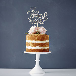 Elegant To Have And To Hold Wooden Wedding Cake Topper - cake toppers & decorations