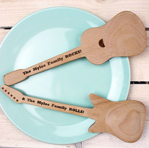 Personalised Electric And Acoustic Guitar Spoon Set - summer sale