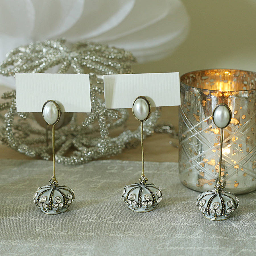 Place Card Holder With Diamante Crown And Pearl Trim By