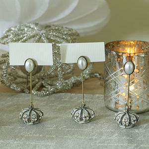 Place Card Holder With Diamante Crown And Pearl Trim