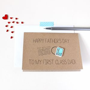 Personalised 'First Class' Dad Father's Day Card