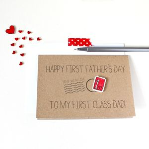 Personalised 'First Class' Dad, First Father's Day Card