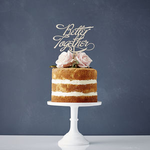 Elegant 'Better Together' Wooden Wedding Cake Topper