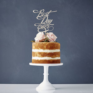 Elegant 'Best Day Ever' Wooden Wedding Cake Topper - cake toppers & decorations