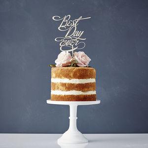 Elegant 'Best Day Ever' Wooden Wedding Cake Topper - cakes & treats