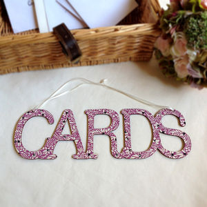 Cards Hanging Wedding Sign With Florence Design
