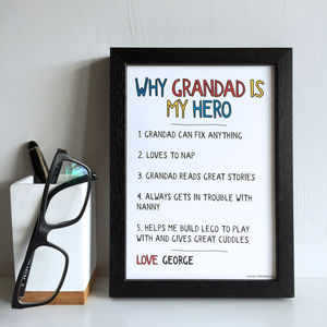 Personalised Why Grandad Grandpa Is My Hero Print - gifts for grandfathers