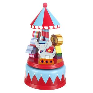 Wooden Vintage Circus Musical Carousel - cars & trains