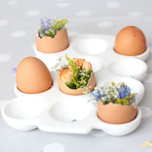 Ceramic Egg Crate - egg cups & cosies