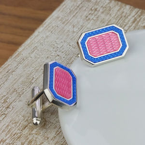 Silver And Enamelled Pink And Purple Cufflinks - women's jewellery