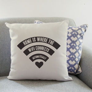 Home Is Where The Wifi… Cushion - patterned cushions