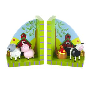 Wooden Farm Yard Animal Bookends