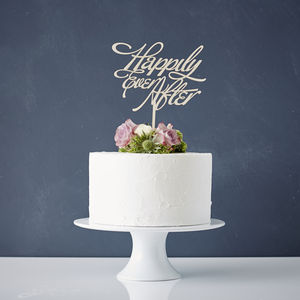 Elegant 'Happily Ever After' Wooden Wedding Cake Topper - table decorations