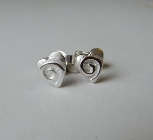 Silver Swirly Heart Studs - bridesmaid accessories