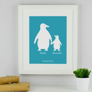 Father And Child Personalised Penguin Print - posters & prints