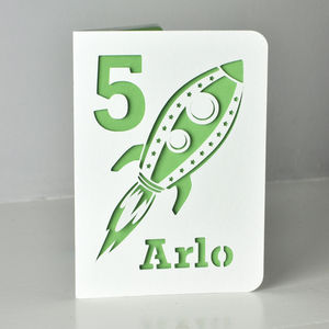 Rocketship Paper Cut Card