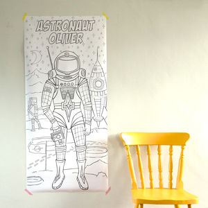 Personalised Astronaut Colouring Poster - baby's room