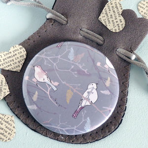 Bird On Branch Pocket Mirror - wedding favours