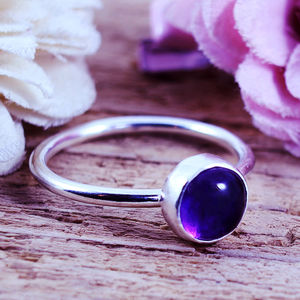 Sophie Gemstone Sterling Silver Stacking Ring - rings