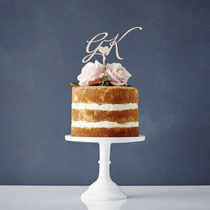 Elegant Personalised 'Initials' Wooden Cake Topper - baking