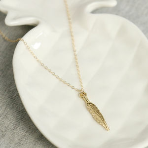 14k Gold Fill Feather Necklace