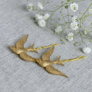 Gold Swallow Hair Grips - head pieces