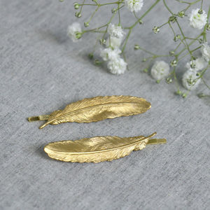 Gold Feather Hair Grips - bridal hairpieces