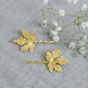 Gold Maple Leaf Hair Slides - hair accessories