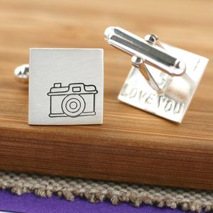 Personalised Silver Vintage Camera Cufflinks