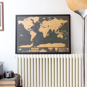 Scratch Map® Deluxe Poster Framed - mixed media & collage