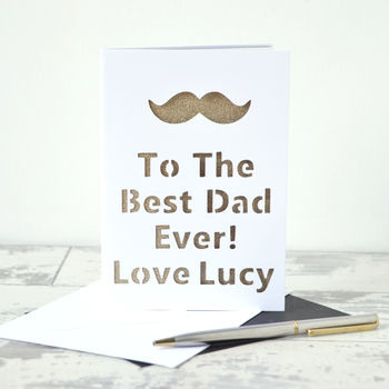 Personalised Moustache Glitter Cut Out Card