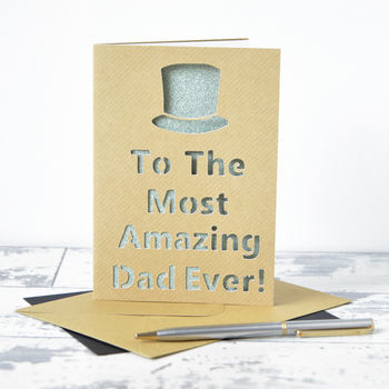 Personalised Top Hat Glitter Cut Out Card