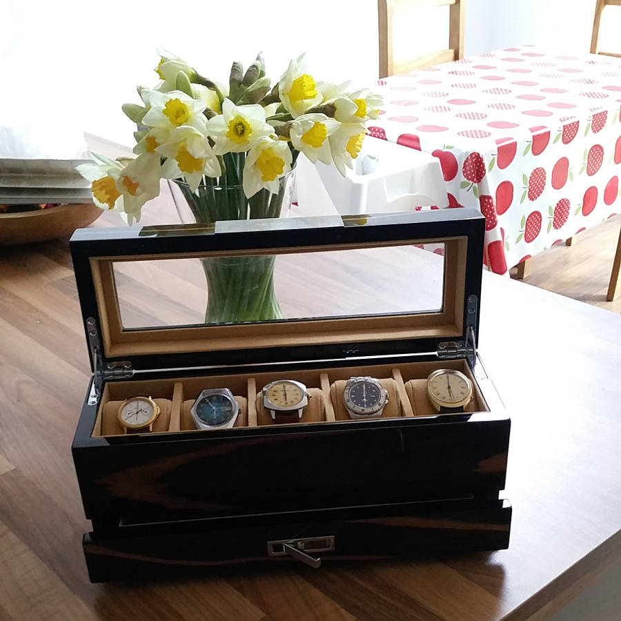 Gents Wooden Watch Storage Box With Drawer