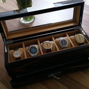 Gents Wooden Watch Storage Box With Drawer - watch storage