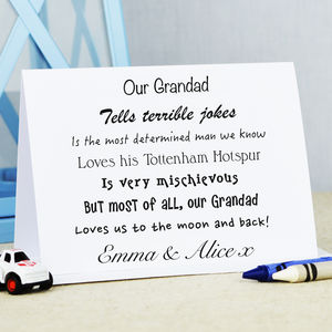 Personalised 'Grandad' Card - father's day cards