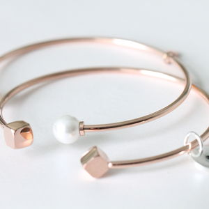 Personalised Pearl Or Cube End Open Bangle - rose gold jewellery