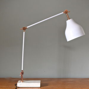 Copper And White Marble Angled Desk Lamp