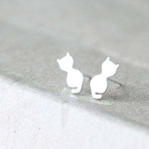 Sterling Silver Little Kitten Ear Studs - earrings