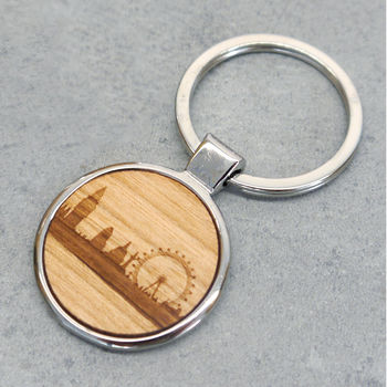Wooden London Skyline Key Ring
