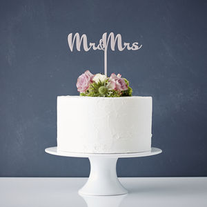Calligraphy Mr And Mrs Wedding Cake Topper - table decorations