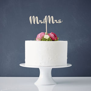 Calligraphy Mr And Mrs Wooden Wedding Cake Topper - cakes & treats